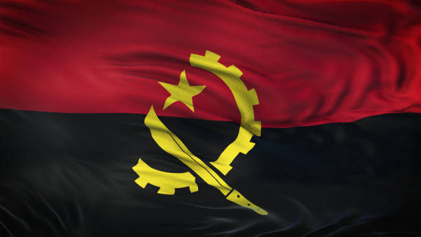angola realistic waving flag background - angola stock photos and pictures