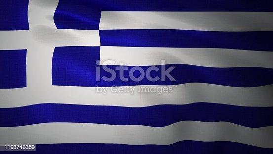 istock Realistic waving flag of Greece. 3d rendering 1193746359