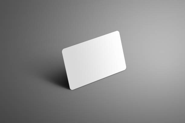 realistische weißen mock-up einer bank (geschenk) karte mit schatten auf grauem hintergrund. - gutschein ausdrucken stock-fotos und bilder
