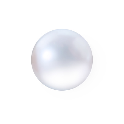 Realistic beautiful white shimmering pearl isolated on white background