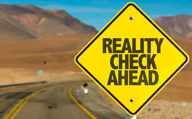 Reality Check Ahead Reality Check Ahead sign on desert road information equipment stock pictures, royalty-free photos & images