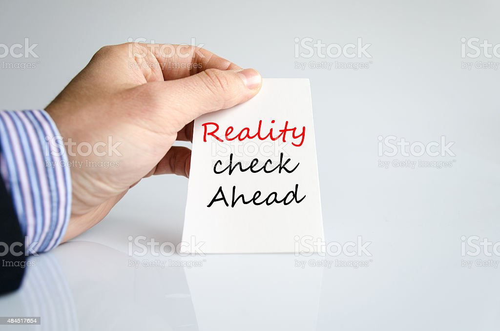 Reality check ahead Text Concept stock photo
