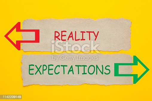 Reality vs Expectations words written on old paper on yellow background.