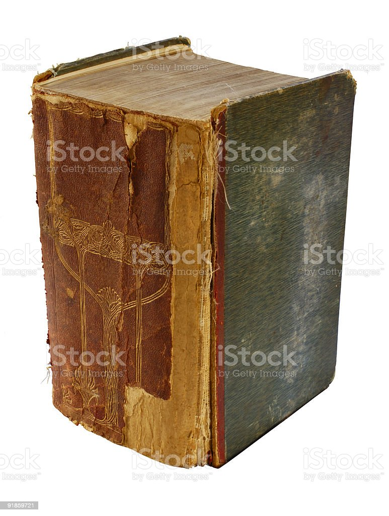 Really big, fat, grungy book. stock photo