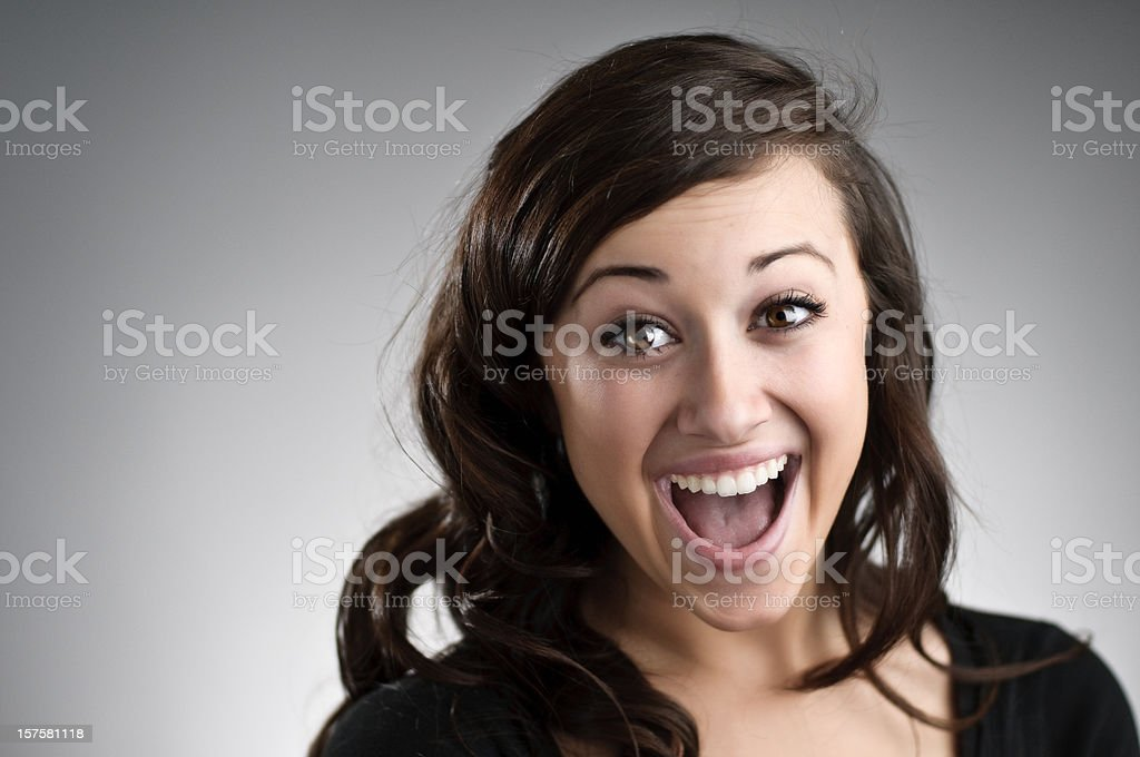 Really Excited Girl stock photo