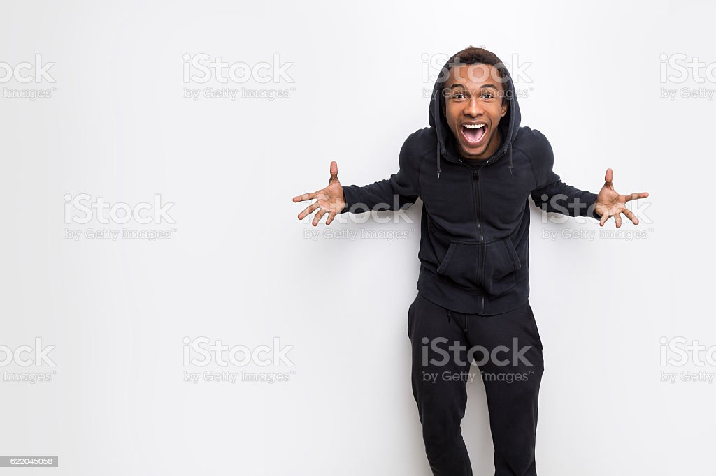 Really happy African guy stock photo