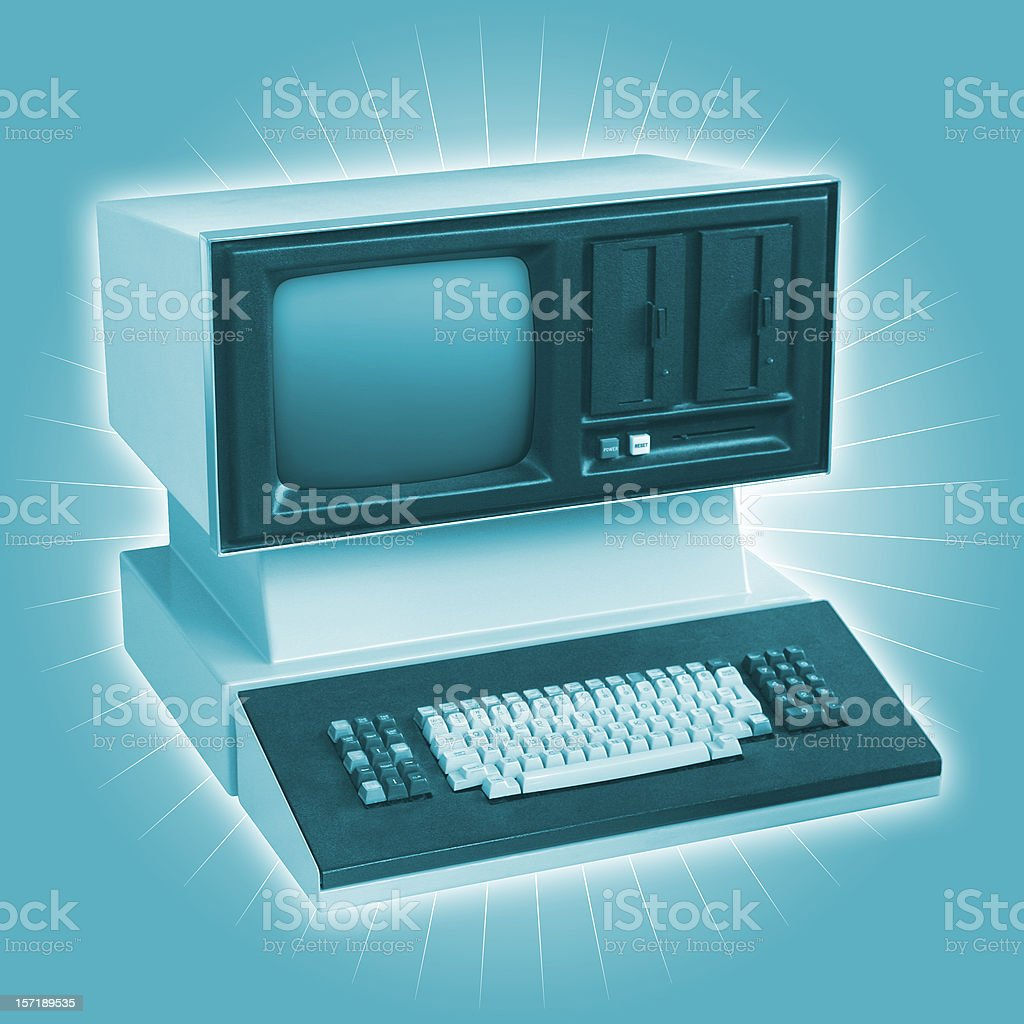 Really Old Funky Dinosaur Computer stock photo
