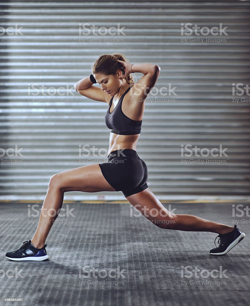 Really working those leg muscles stock photo
