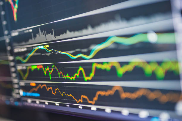 Realtime Stock business financial investment ticker bid-offer in online stock exchange trading background stock photo