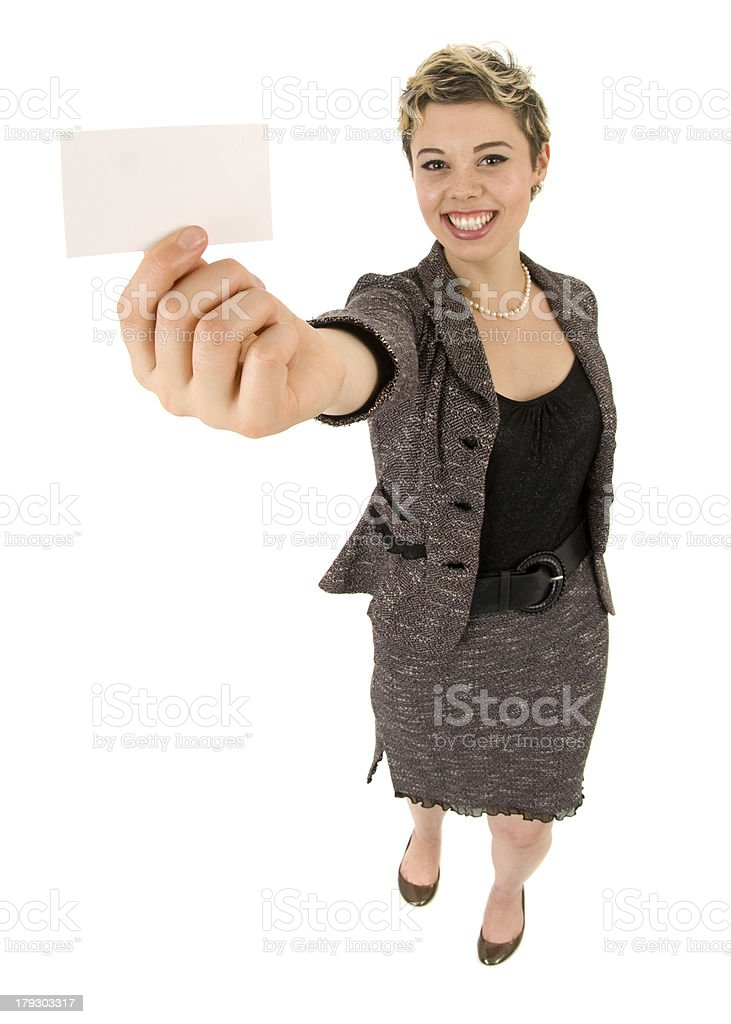 Realtor Saying Here, Take My Business Card royalty-free stock photo