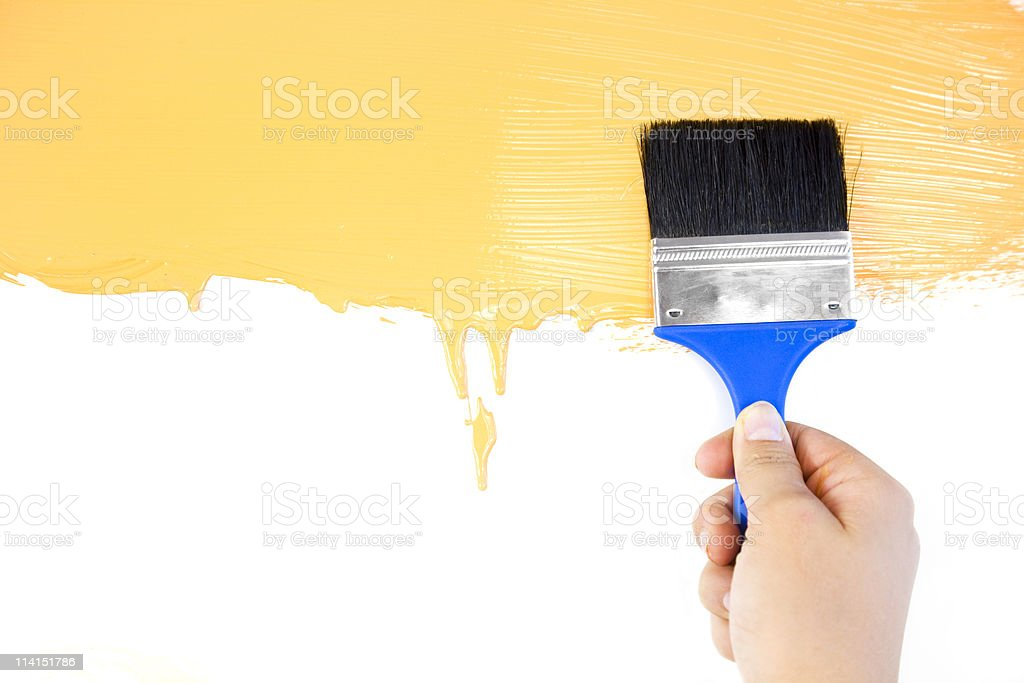 Realy painted shape with brush and hand royalty-free stock photo