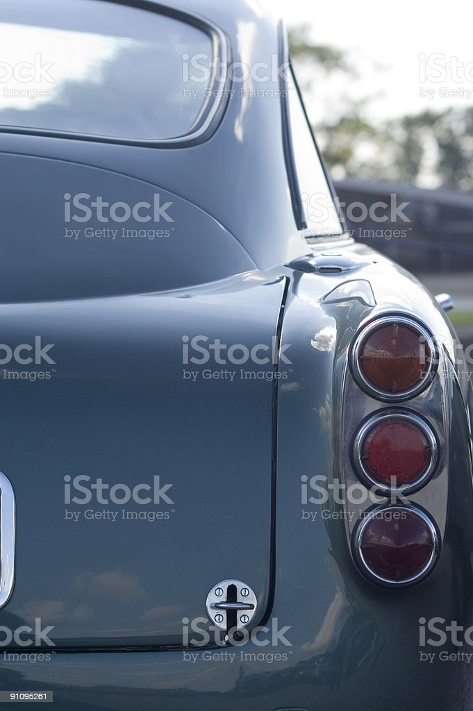 Rear 1/4 View of a 1950s British GT Car stock photo
