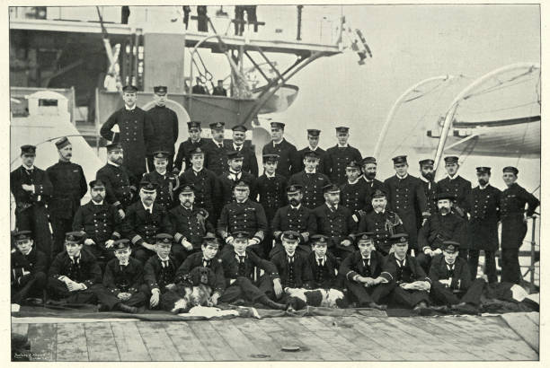 Rear admiral Arthur Hildebrand Alington and officer of HMS Magnificent stock photo