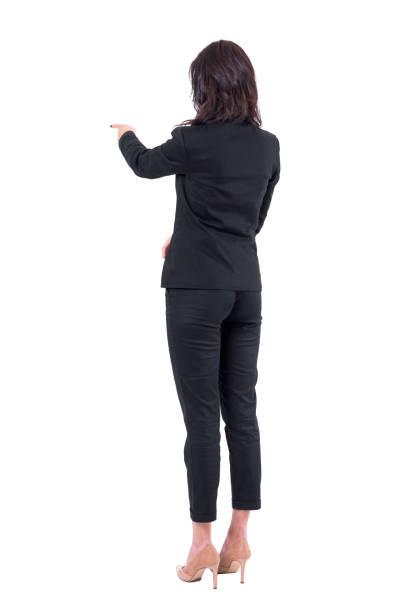 商務女性的後背部視圖, 適合與觸控式螢幕互動或在演示文稿中指指點點 - 觸控式屏幕 個照片及圖片檔