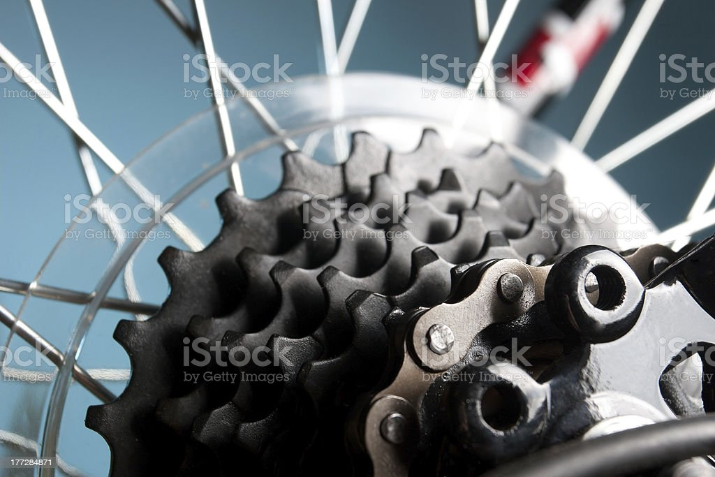 Rear bike cassette on the wheel with chain stock photo