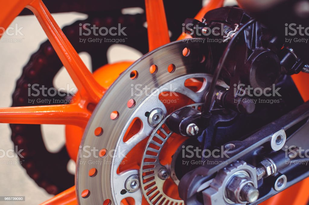 rear brake disc for a sports motorcycle - Royalty-free Aluminum Stock Photo