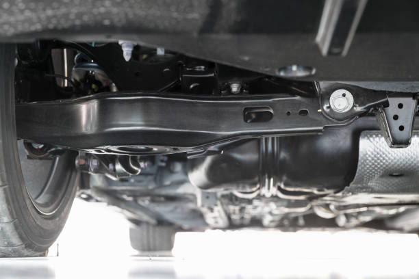 système de suspension de voiture arrière, écrou d'ajustement de camber arrière. - convexe photos et images de collection