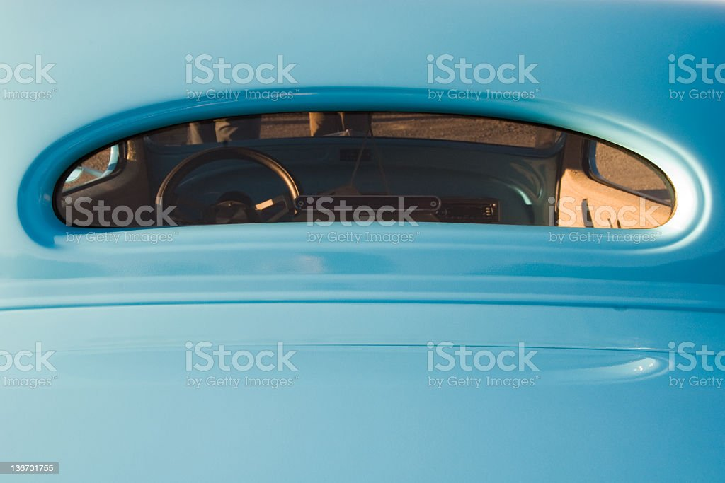 Rear Car Window in Baby Blue Hot Rod royalty-free stock photo
