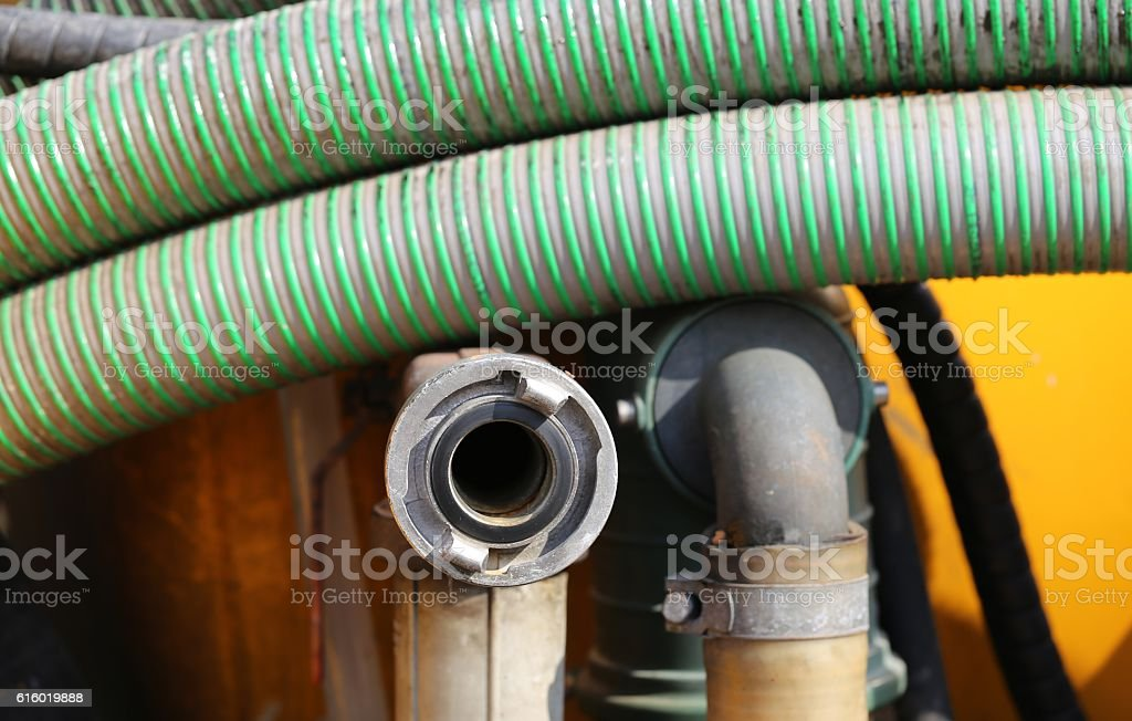 Rear Details of Sewer Truck. stock photo