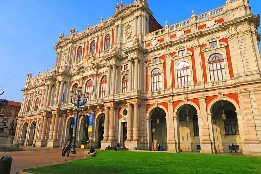 Rear facade of Palazzo Carignano,Turin,Italy