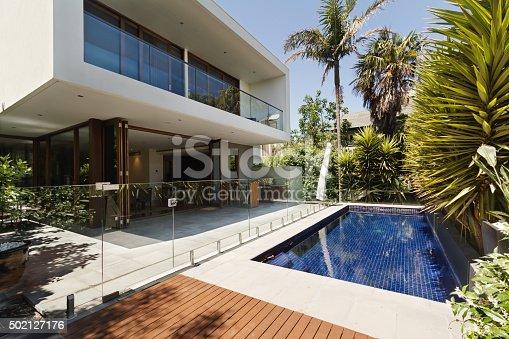 istock Rear garden of a contemporary Australian home with pool 502127176