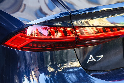 Rear Lamp Of New Generation Audi A7 2019 Parked On Goteborg City Centre Stock Photo - Download Image Now