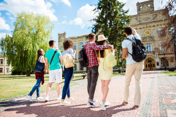 Rear low angle view of six multiethnic students. They are walking to college building and discuss the project, gesturing, sharing the ideas, bonding stock photo
