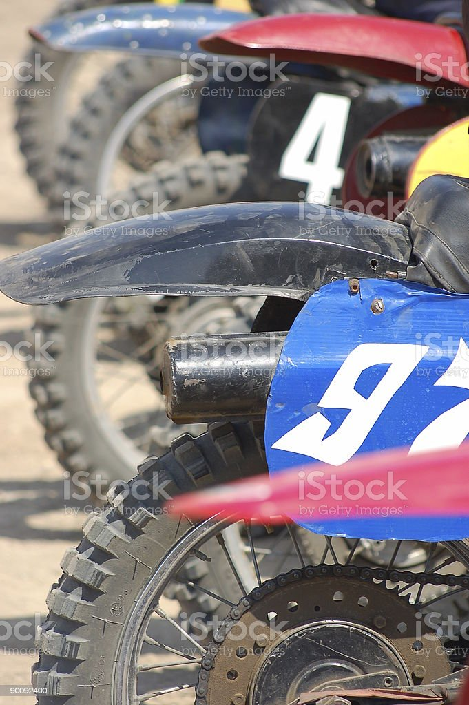 Rear motorcycle wheels on the start royalty-free stock photo