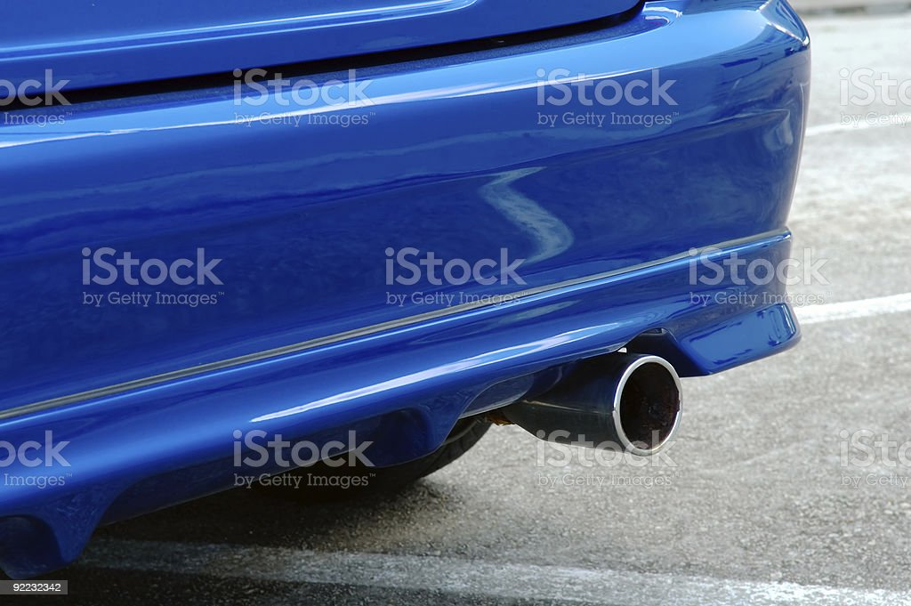 Rear of blue car royalty-free stock photo