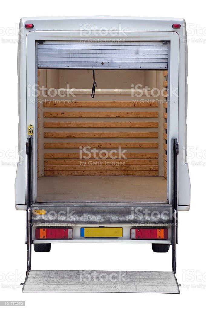 Rear of empty box van stock photo