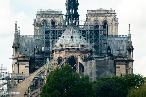 istock Rear of Notre Dame cathedral with renovation works and scaffolding days before fire 1143033043