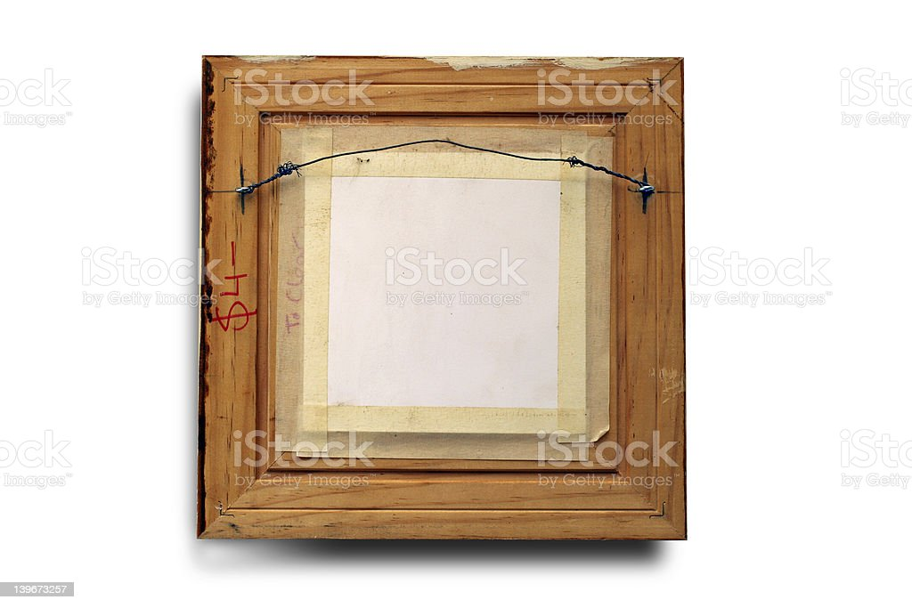 rear of picture frame stock photo