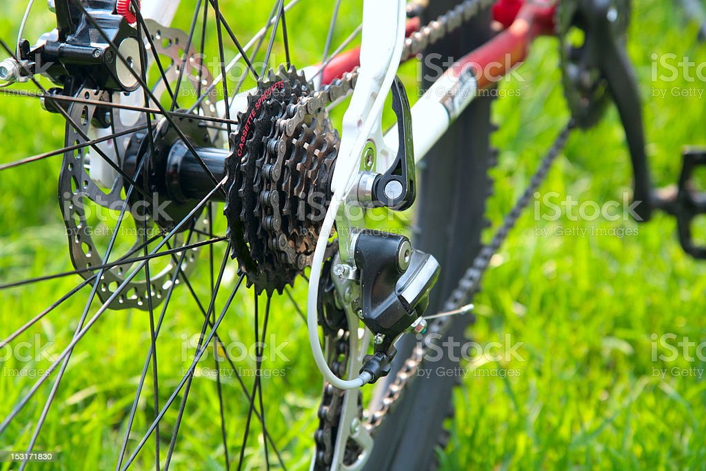 Rear racing bike cassette on the wheel with chain royalty-free stock photo