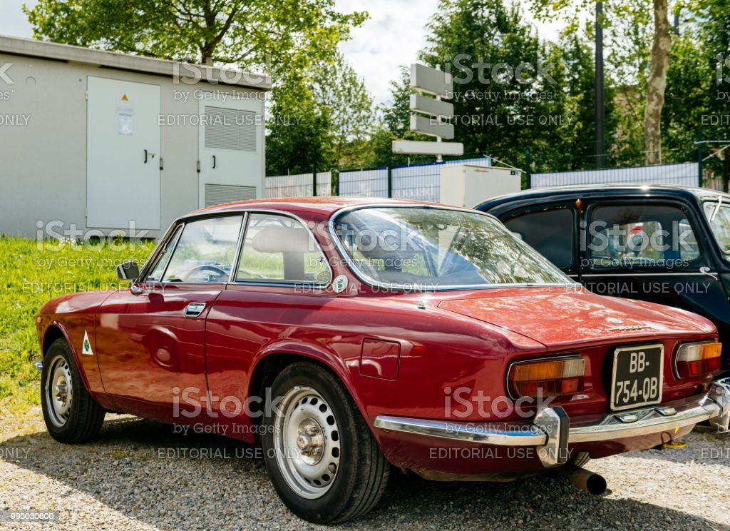 Vintage Alfa Romeo >> Rear View Beautiful Luxury Vintage Red Alfa Romeo Car Parked On The Street Stock Photo Download Image Now