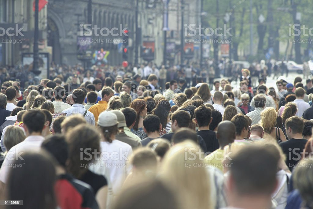Rear view crowd in urban area during warm weather stock photo
