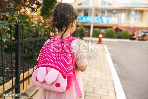 istock Rear view image of cute little girl preschooler walking outdoor with pink backpack against blurred buildings. Happy kid toodler pupil going to the preschool lessons. People and education concept 1051772428