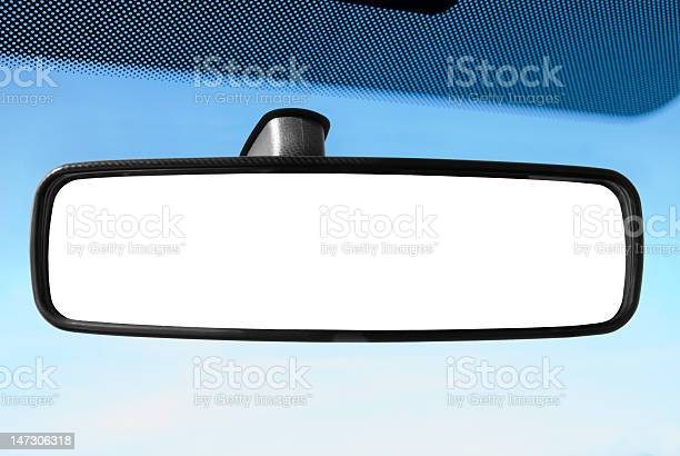 A Rear View Mirror In A Car In Cartoon Stock Photo - Download Image Now