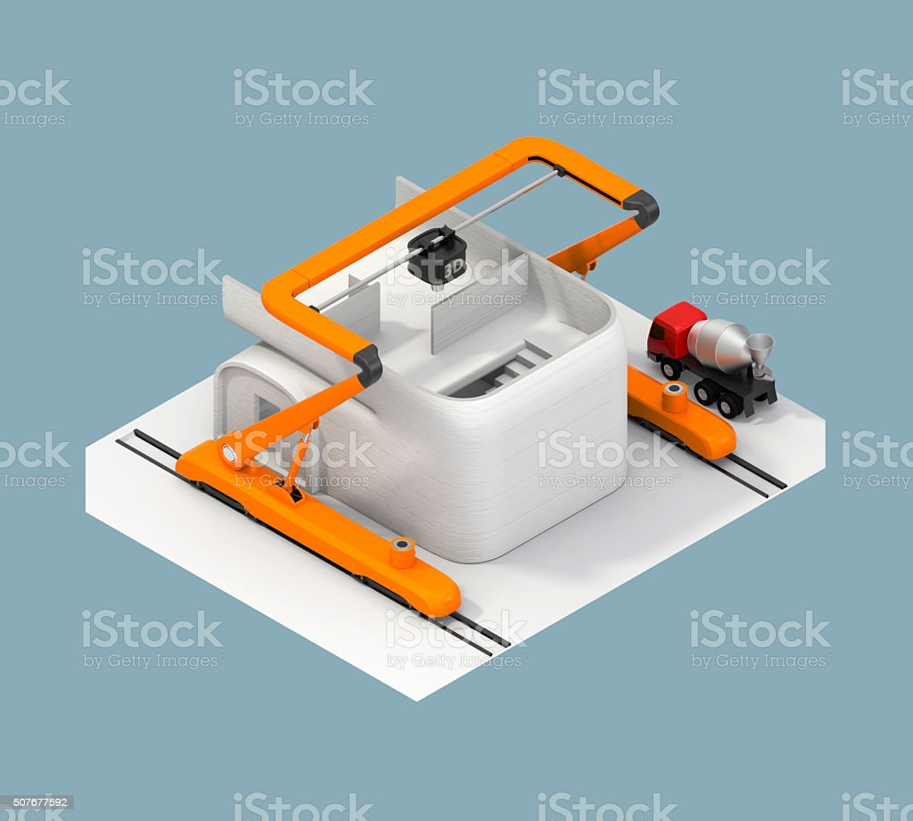 Rear view of 3D printer and house. Clipping path available. stock photo