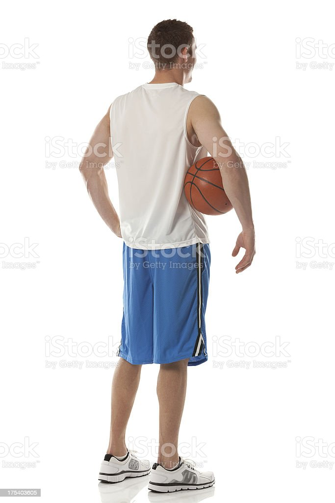 Rear view of a basketball player stock photo