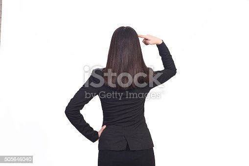 istock Rear view of a businesswoman standing in thoughtful pose 505646040