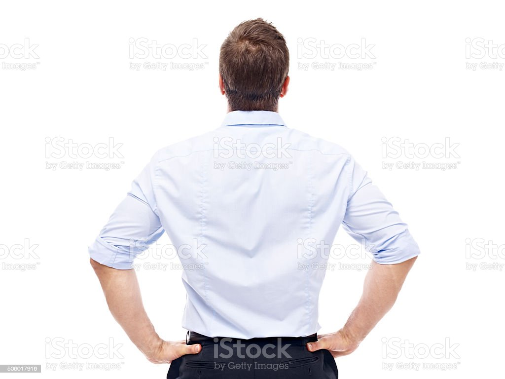 rear view of a caucasian businessman stock photo