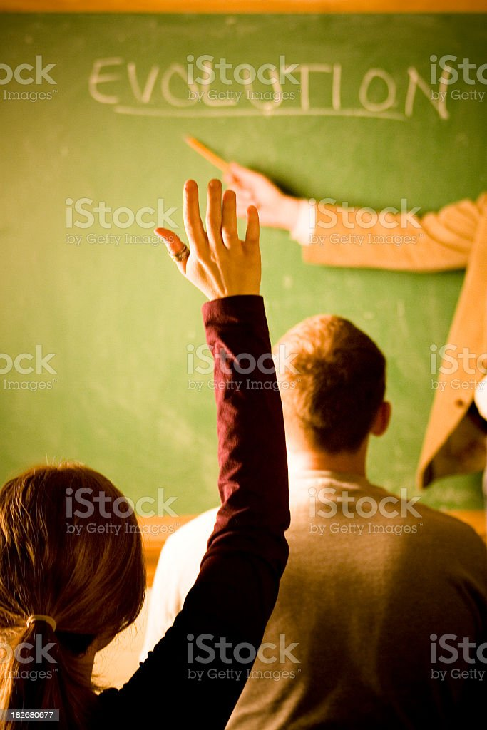 Rear view of a classroom with one student's raised hand royalty-free stock photo