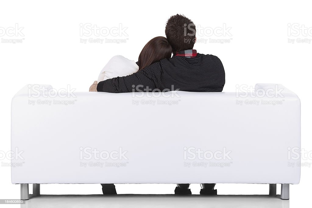Rear view of a couple sitting together stock photo