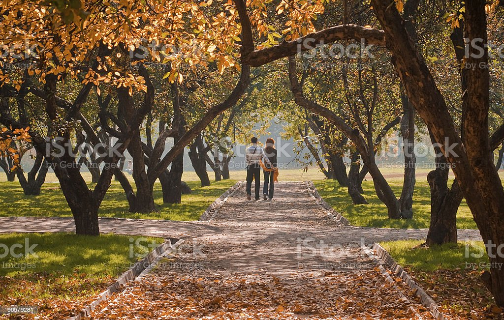 Rear view of a couple walking down a park path in autumn - Royalty-free Afbeelding Stockfoto