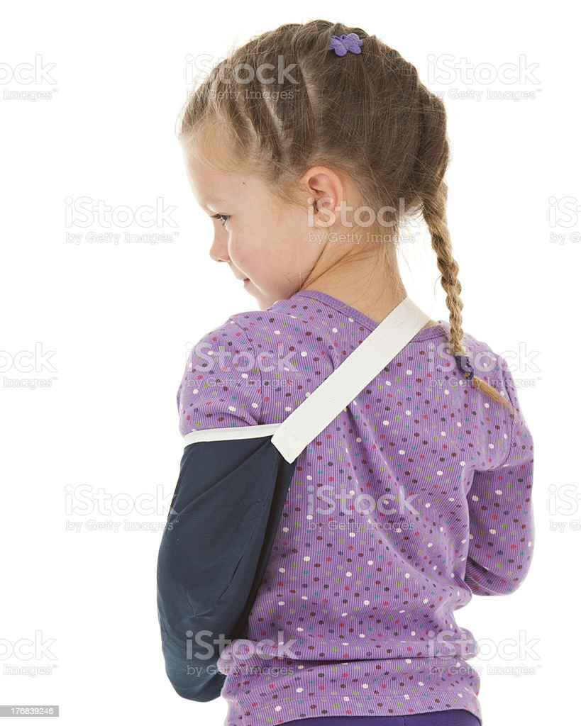 Rear View of a Cute Young Girl with Sling royalty-free stock photo