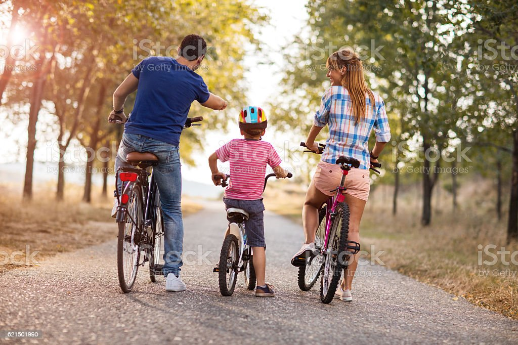 Rear view of a family enjoying on bikes in park. foto stock royalty-free