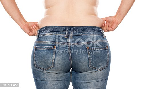 istock rear view of a fat woman in jeans on white background 831586458