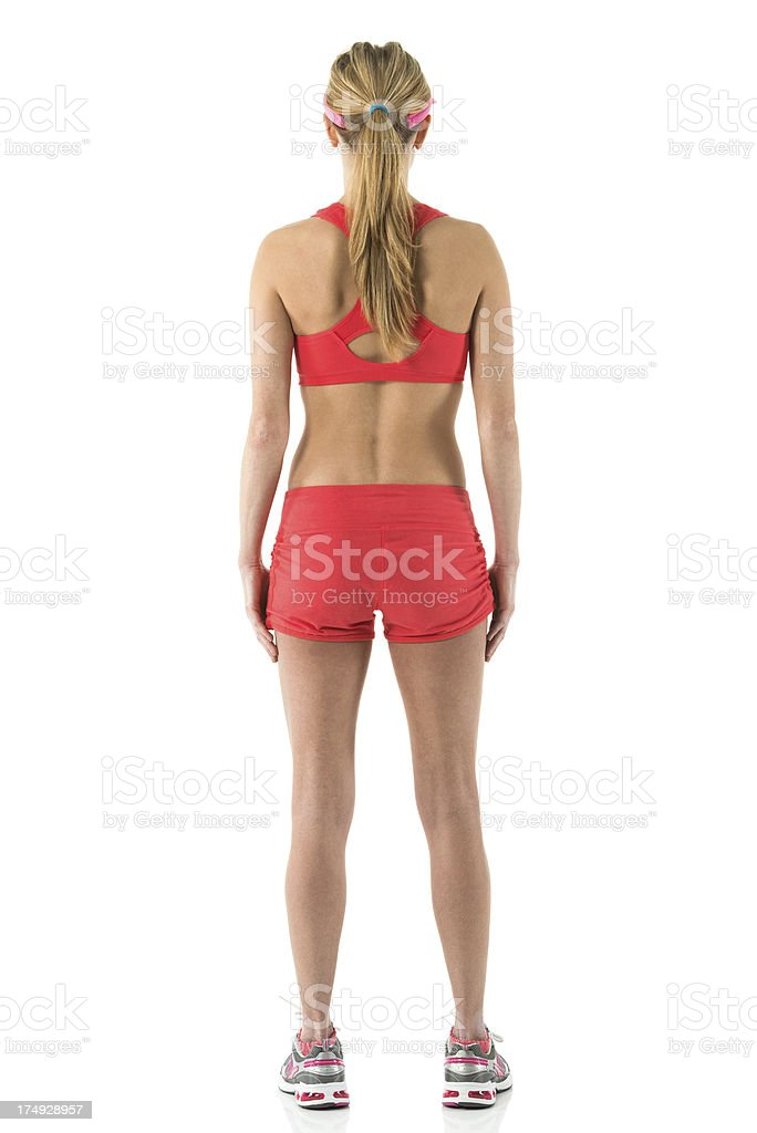 Rear view of a female athlete royalty-free stock photo