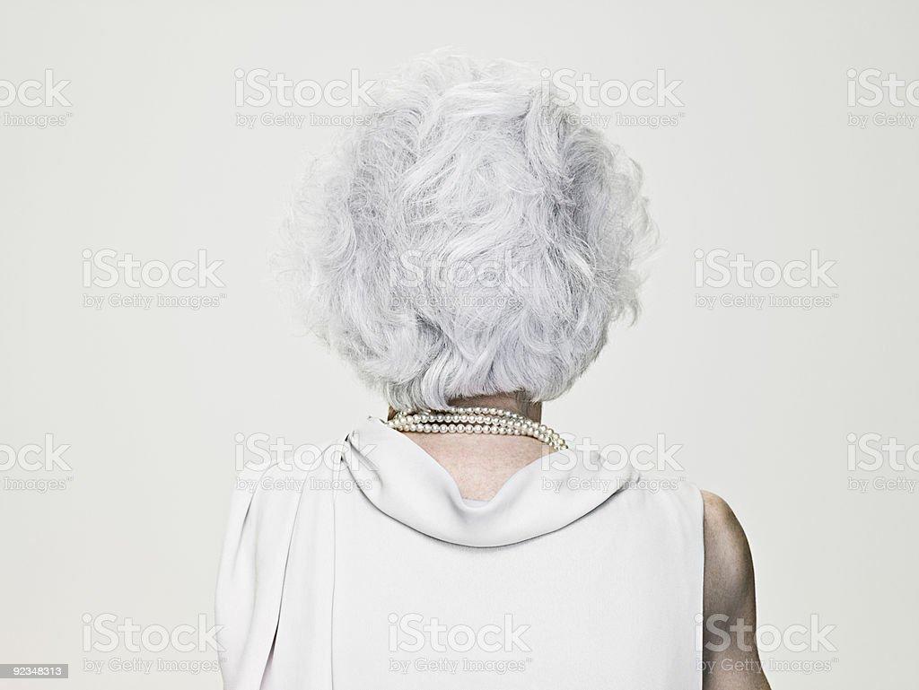 Rückansicht eines männlichen senior Frau Grau – Foto