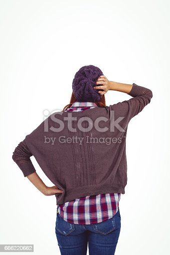 istock Rear view of a hipster woman 666220662
